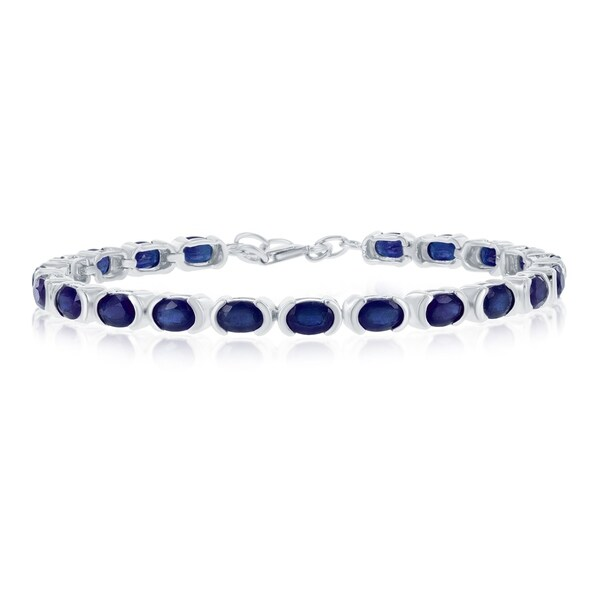 La Preciosa Sterling Silver Italian High Polish Sapphire or Ruby 4X6 Oval Gemstone Tennis Bracelet. Opens flyout.