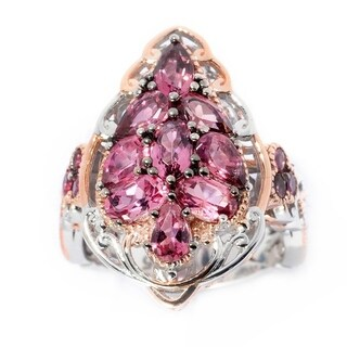Michael Valitutti Palladium Silver Multi Shape Pink Tourmanlie Exotic Cluster Ring