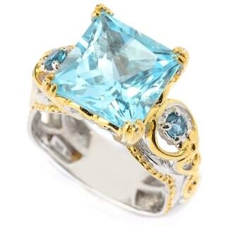 Michael Valitutti Palladium Silver Princess Cut Dark Sky Blue Topaz & London Blue Topaz Cocktail Ring