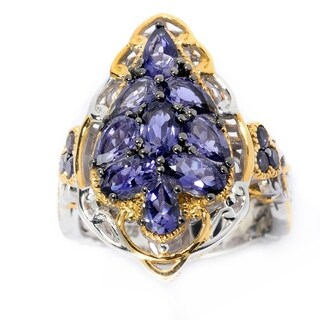 Michael Valitutti Palladium Silver Multi Shape Iolite Exotic Cluster Ring (3 options available)