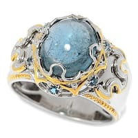 Michael Valitutti Palladium Silver Blue Tourmaline & London Blue Topaz Polished Men's Ring