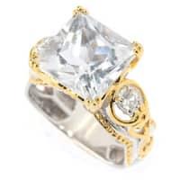 Michael Valitutti Palladium Silver Princess Cut White Quartz & White Zircon Cocktail Ring