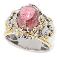 Michael Valitutti Palladium Silver Pink Tourmaline & Rhodolite Polished Men's Ring