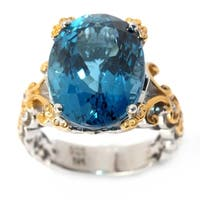 Michael Valitutti Palladium Silver London Blue Topaz Scalloped Edge Cocktail Ring