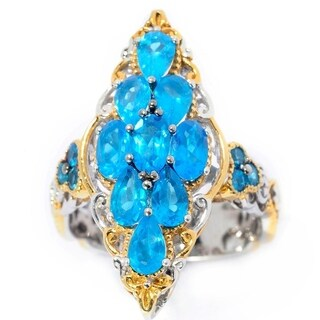Michael Valitutti Palladium Silver Multi Shape Neon Apatite Exotic Cluster Ring