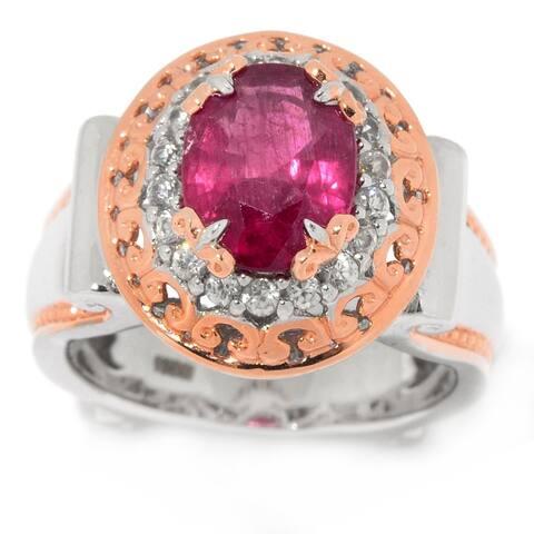 Michael Valitutti Palladium Silver Rubelite & White Zircon Halo Ring