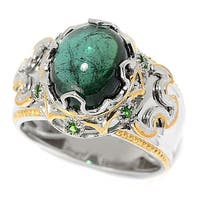 Michael Valitutti Palladium Silver Green Tourmaline & Chrome Diopside Polished Men's Ring