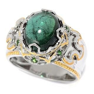 Michael Valitutti Palladium Silver Green Tourmaline & Chrome Diopside Polished Men's Ring