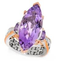 Michael Valitutti Palladium Silver Marquise Shaped Amethyst Three-Stone Ring
