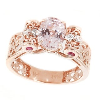 Michael Valitutti 14K Rose Gold Kunzite Pink Sapphire White Zircon Ring