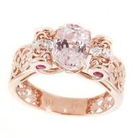 Michael Valitutti 14K Rose Gold Kunzite, Pink Sapphire & White Zircon Ring