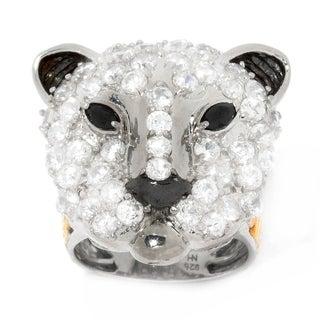 Michael Valitutti Palladium Silver White Zircon & Black Spinel Panther Ring