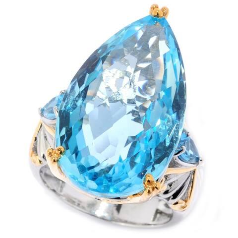 Michael Valitutti Palladium Silver Checkerboard Cut Swiss Blue Topaz Pear Shaped Ring