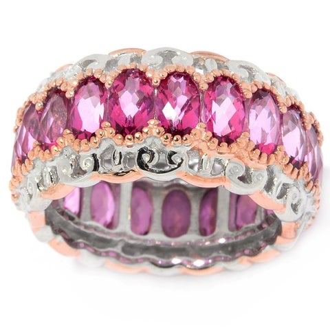 Michael Valitutti Palladium Silver Checkerboard Cut Pink Topaz Eternity Band Ring