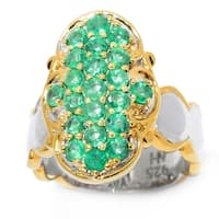 Michael Valitutti Palladium Silver Emerald Cluster Scalloped Shank Elongated Ring