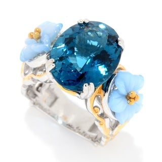 Michael Valitutti Palladium Silver London Blue Topaz & Carved Blue Chalcedony Flower Ring