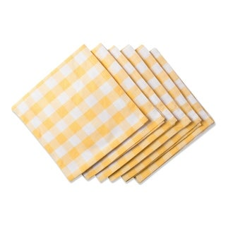 Design Imports Yellow/White Checkers Napkin Set (Set of 6)