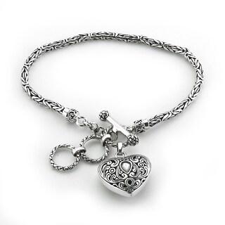 Balinese Artisan Jewelry Sterling Silver Balinese design Heart shape bracelet.