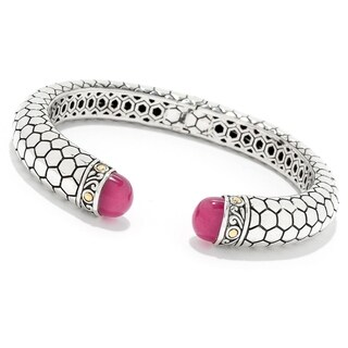 """Balinese Artisan Jewelry Sterling Silver with 18K Gold 7.5"""" Honeycomb Bangle with 8X10 FUCHSIA Quartz."""