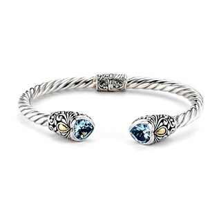 Balinese Artisan Jewelry Sterling Silver with 18K Gold twisted Heart shape Blue Topaz Cable Bangle.