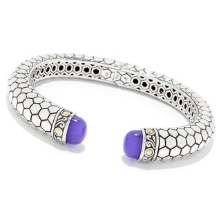 """Balinese Artisan Jewelry Sterling Silver with 18K Gold 6.5"""" Honeycomb Bangle with 8X10 purple Quartz."""