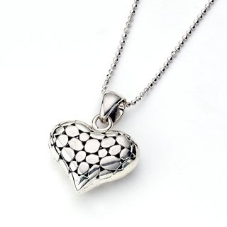Balinese Artisan Jewelry Sterling Silver dot Heart shaped pendant on chain.