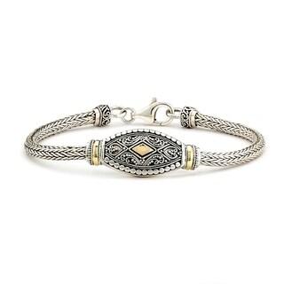 "Balinese Artisan Jewelry Sterling Silver with 18K Gold 7"" Tulang Naga Bali design bracelet."