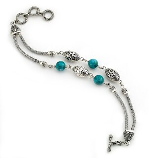 Balinese Artisan Jewelry Sterling Silver two strand Turquoise Bali design toggle bracelet.
