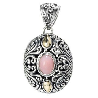Balinese Artisan Jewelry Sterling Silver with 18K Gold oval pink Opal pendant.