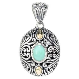 Balinese Artisan Jewelry Sterling Silver with 18K Gold oval Chrysophrase pendant.