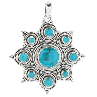 Balinese Artisan Jewelry Sterling Silver American Turquoise star pendant.