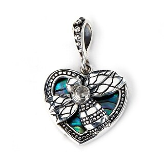 Balinese Artisan Jewelry Sterling Silver Heart shape Abalone pendant with Bumble Bee.