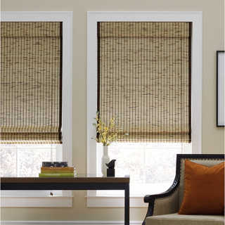 Tortoise Natural Bamboo Roman Shade - 50 - 59 Inches (As Is Item)