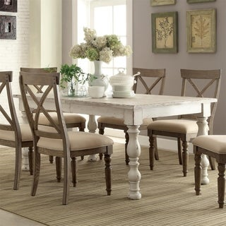 Aberdeen Rectangular Dining Table - weathered worn white