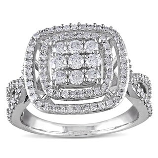 Miadora Signature Collection 10k White Gold 1ct TDW Diamond Cluster Halo Engagement Ring