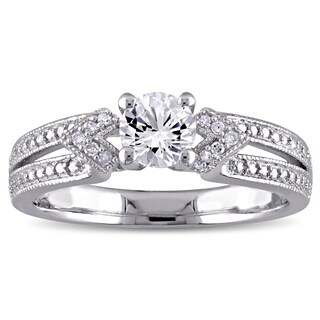 Miadora Sterling Silver Created White Sapphire and Diamond Accent Split Shank Engagement Ring