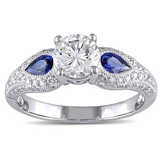 Miadora Signature Collection 14k White Gold Pear-cut Sapphire and 1 1/5ct TDW GIA Certified Diamond