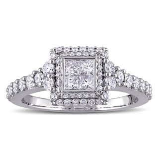 Miadora Signature Collection 14k White Gold 1ct TDW Princess and Round-cut Diamond Square Double Halo Engagement Ring