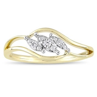 Miadora 2-Tone 10k White and Yellow Gold Diamond Triple Marquise-Cut Floating Center Engagement Ring