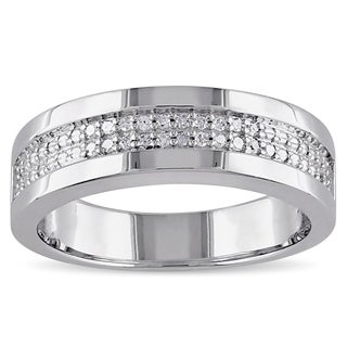 Miadora Sterling Silver Men's 1/10ct TDW Diamond Wedding Band
