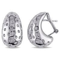Miadora Wide Textured Dot Semi-Hoop Earrings Italian Sterling Silver