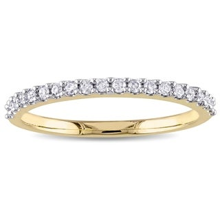 Miadora 10k Yellow Gold 1/5ct TDW Diamond Stackable Wedding Band - White