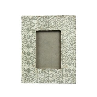 Sagebrook Home 12685-02 Cement Photo Frame 4X6, Floral Celadon/Ivory Ceramic, 9.75 x 8 x 0.75 Inches