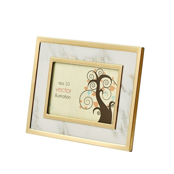 Shop Sagebrook Home 13651-01 Marble Look Photo Frame, White/Gold ...