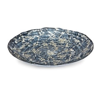 Metropolitan Blue and Gold Marbled Glass Charger