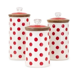 Trisha Yearwood Berry Patch Polka Dot Canisters (Set of 3)