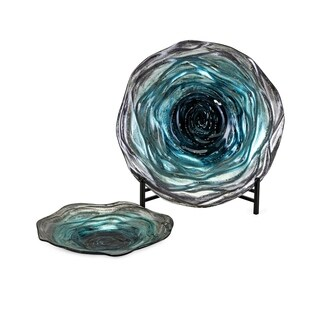 Tilbury Turquoise with Deep Blue Glass Chargers with Stands (Set of 2)