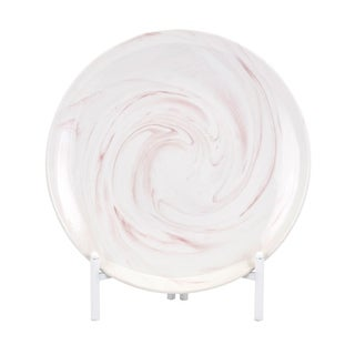 Parra White and Pink Blush Decorative Charger with Stand