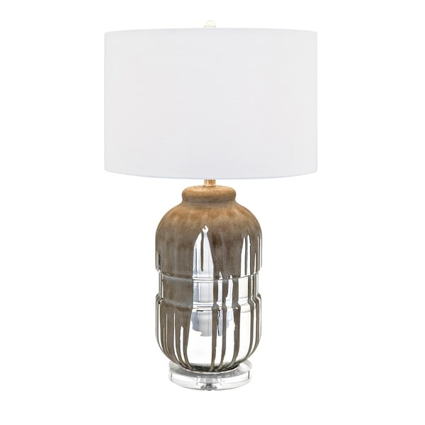 Tawny Silver Mercury Glass and White Shape Table Lamp