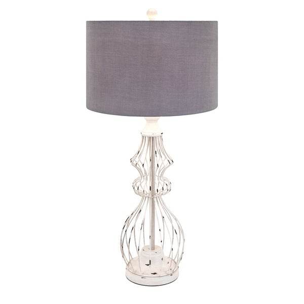 Trisha Rustic White and Grey Shape Yearwood Berry Patch Lamp